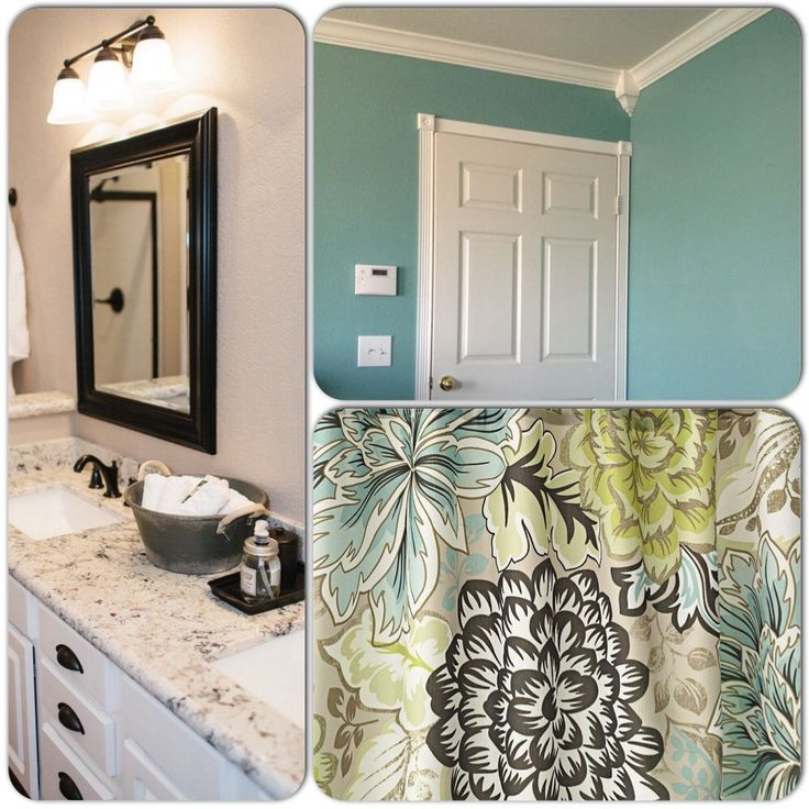 Hallway Bathroom. White Cabinets, Bronze Fixtures, Sherwin Williams  Drizzle. Blue, Green. Brown Shower CurtainsGreen ...