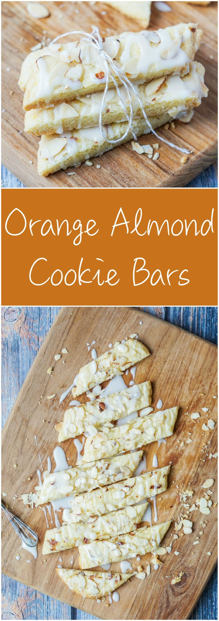 Recipe for Orange Almond Cookie Bars- orange zest and almond spiced thin cookie bars topped with sliced almonds and an orange almond drizzle
