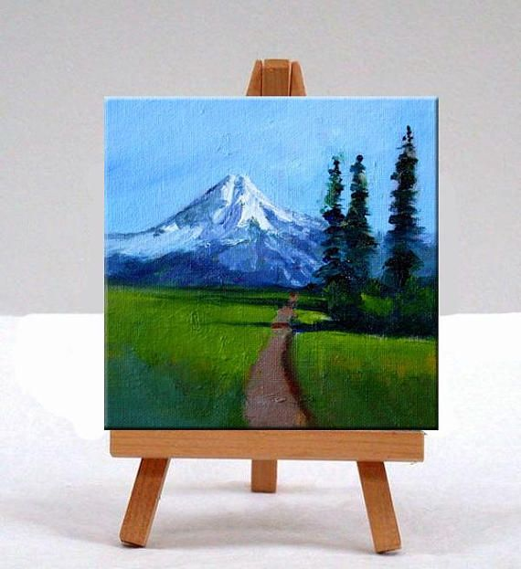 Northwest Landscape, Oil Painting, Original 6×6, Canvas, Wall Decor, Blue ,Green, Mt. Baker, Washing