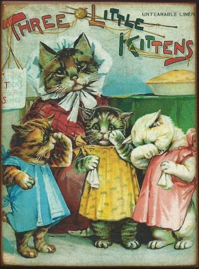 Three Little Kittens Dressed Cats Vintage Childrens Book