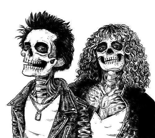 искусство, красиво, чёрно-белое, LOL, любовь, панк, рок, череп