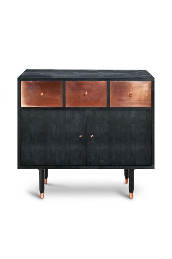 Sideboard Vatnafjoll Cupboard. Midcentury Modern. Copper