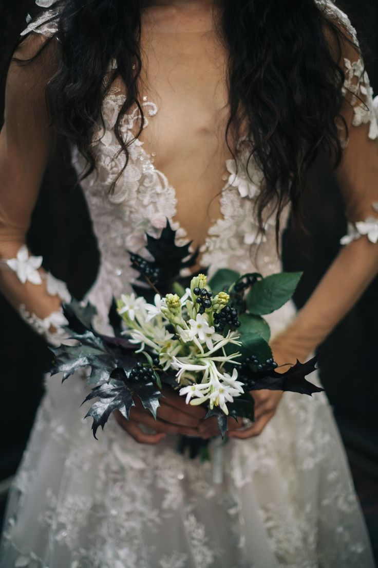 Glam Wedding Inspo – an Aisle Society Experience presented by Minted  Stunning dress with unique bouquet!