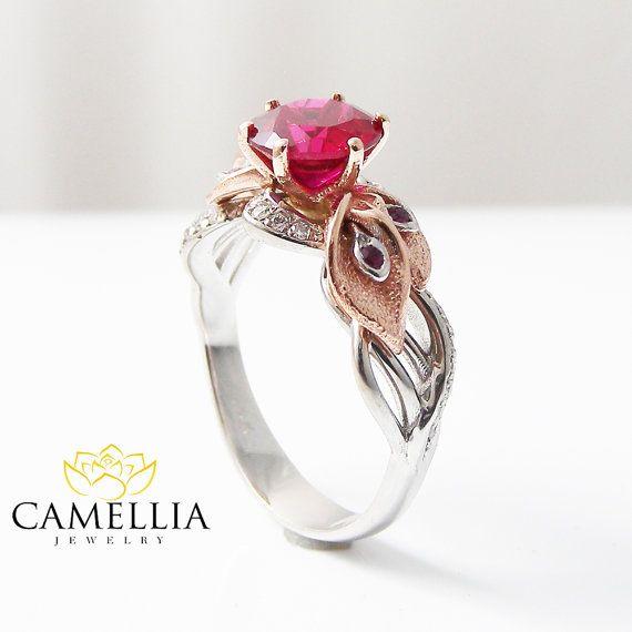 Calla Lily Engagement Rubinring einzigartige von CamelliaJewelry