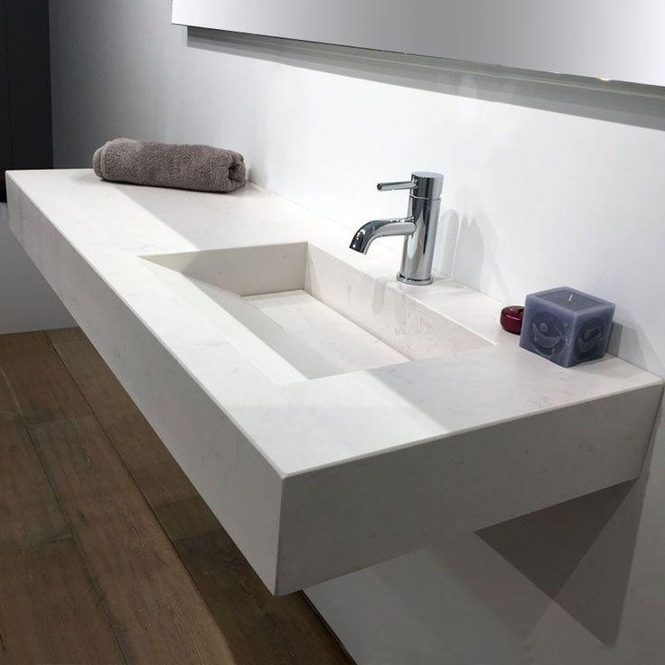 plan vasque salle de bain suspendu 121x46 cm vasque gauche ou droite pierre calacatta - 100 Cm Plan Vasque