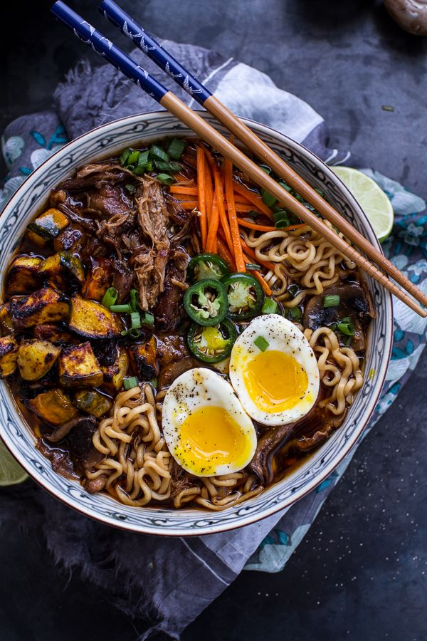 Crockpot Crispy Caramelized Pork Ramen Noodle Soup w-Curry Roasted Acorn Squash