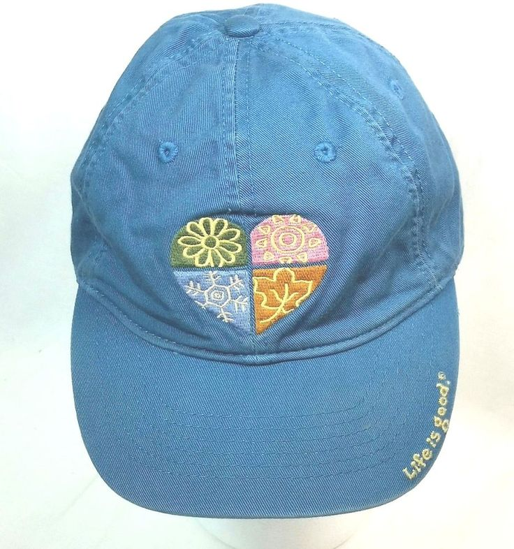 Life Is Good Womens Adjustable Cap Four Seasons Heart Blue Baseball Hat #LifeIsGood #BaseballCap