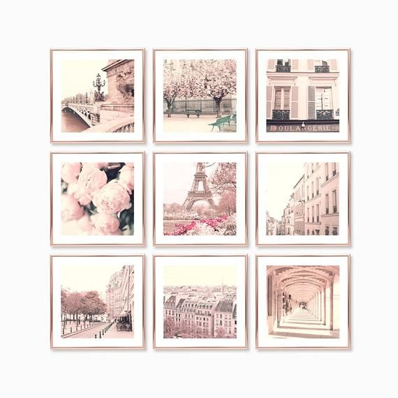 Paris wall art prints, Paris photography prints, blush pink wall art, Paris prints, gallery wall set gallery wall prints, France Europe room