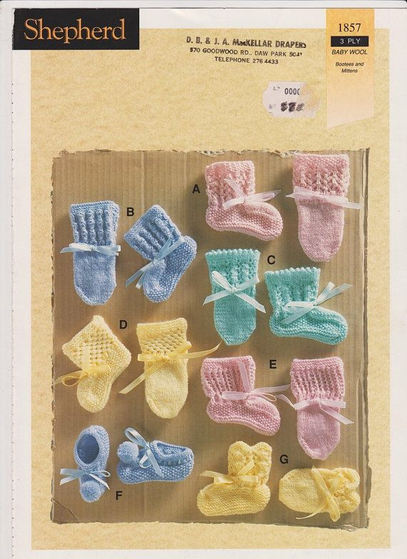 Knitting Pattern for Babies Baby Knitting Pattern PDF Bootees and Mittens