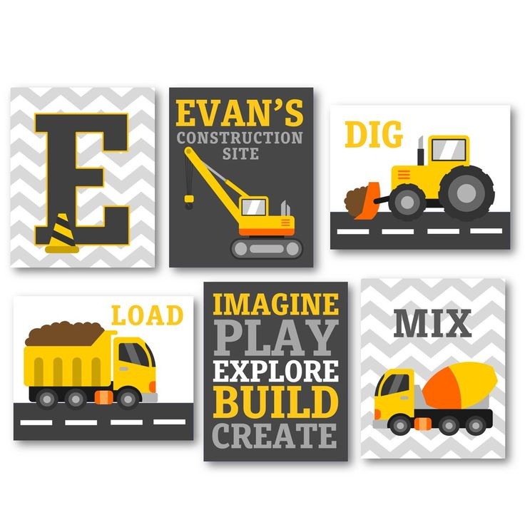 Personalized Wall Art for Boys Construction Art For Boy ...