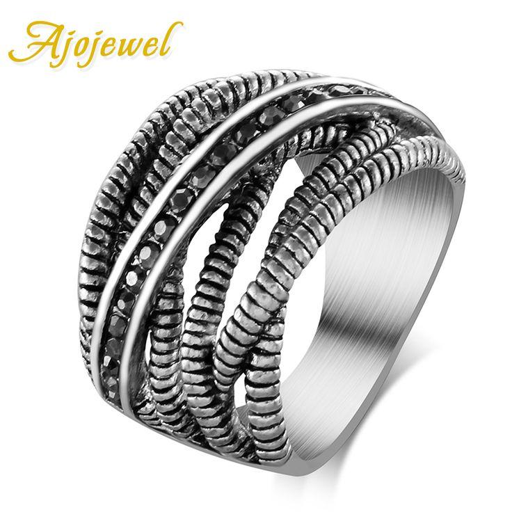 Ajojewel marca retro joyería único grueso cruz diseñador tailandés de plata chapado en anillo de la vendimia de las mujeres con las piedras de la cz(China (Mainland))