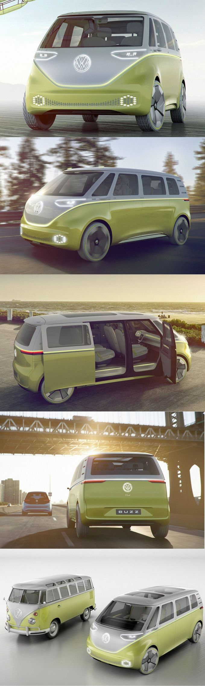 2017 VW I.D. Buzz / concept / autonomous / electric / MPV / Germany / yellow white / 17-191