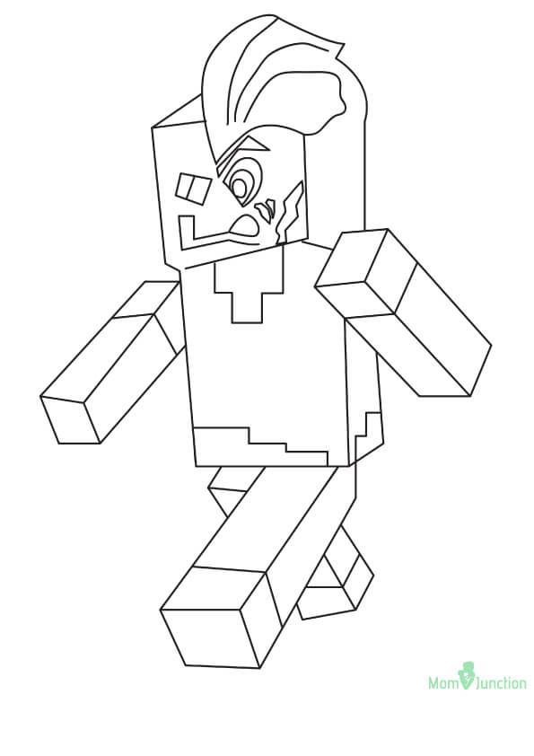 minecraft two face coloring page scribblefun - Two Face Coloring Pages