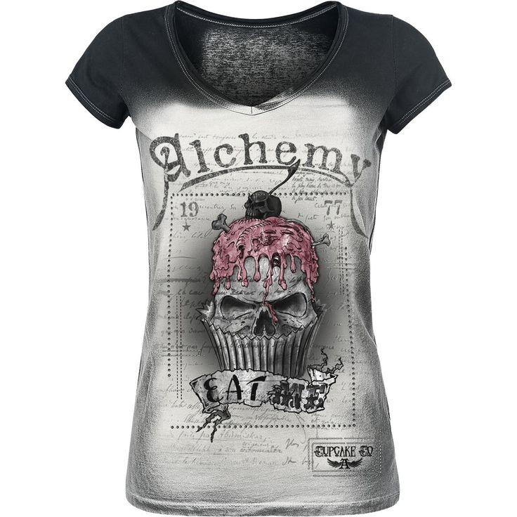 "Alchemy England Camiseta, Mujer ""Eat Me!"" negro-blanco • EMP"
