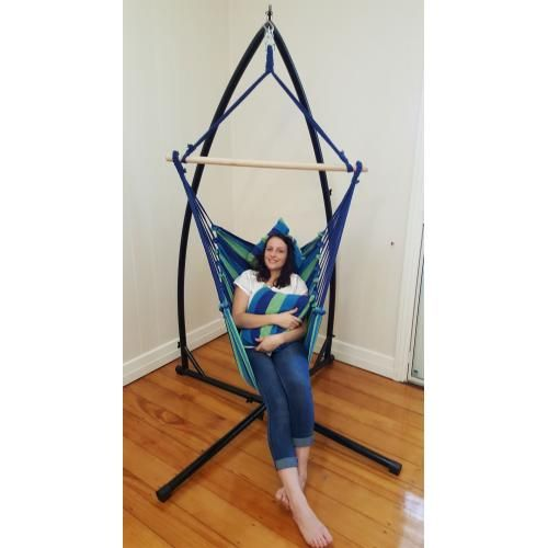 Blue Padded Hammock Chair With Pillows With Stand - Heavenly Hammocks