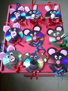 #craft, recycle, cd, animal face, #knutselen, kinderen, basisschool, cd, dierengezicht