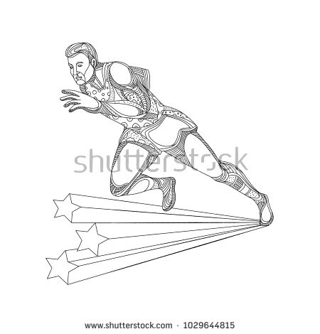 Doodle art illustration of of track and field athlete running sprinting in black and white done in mandala style.  #trackandfield #doodle #illustration