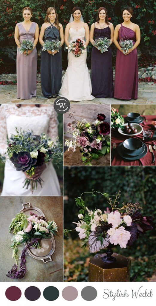 burgundy,purple and sage green fall wedding ideas