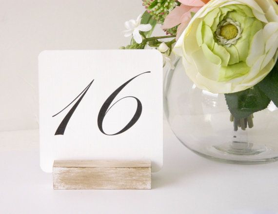 Table Number Holder  White Distressed Table Number by Gallery360
