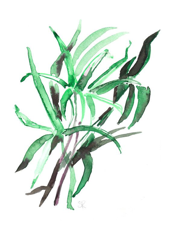 Abstract green leafs. You can purchase this watercolor as art print in my Etsy shop.  By Susanne Riber. Art, decor, home, boligindretning, susanneriber.dk