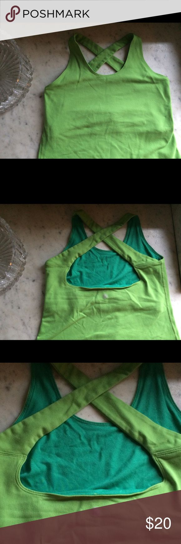 Green cross back Lululemon tank top Cute green tank with cross back straps. In good condition no tag but fits like a 6 lululemon athletica Tops Tank Tops