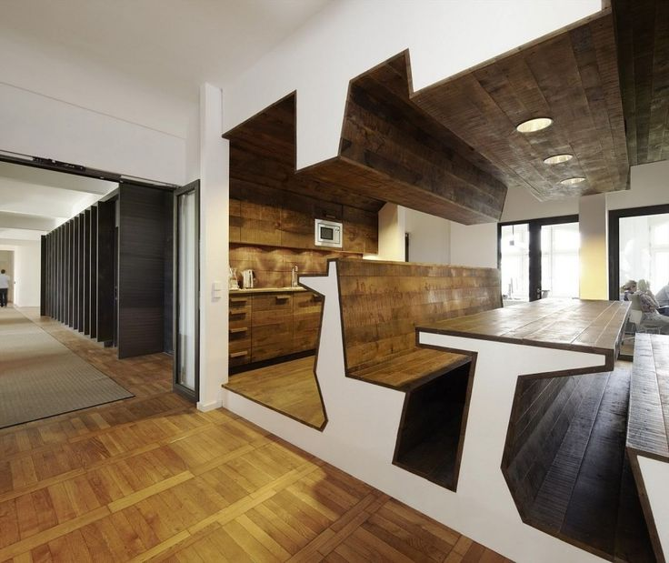 Contemporary Office Interior Design - Staff Cafe and Lounge with Unique Shaped Furniture