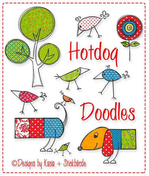 Hotdog Doodles Stickdatei Stickmotiv von DerStickbaer auf Etsy