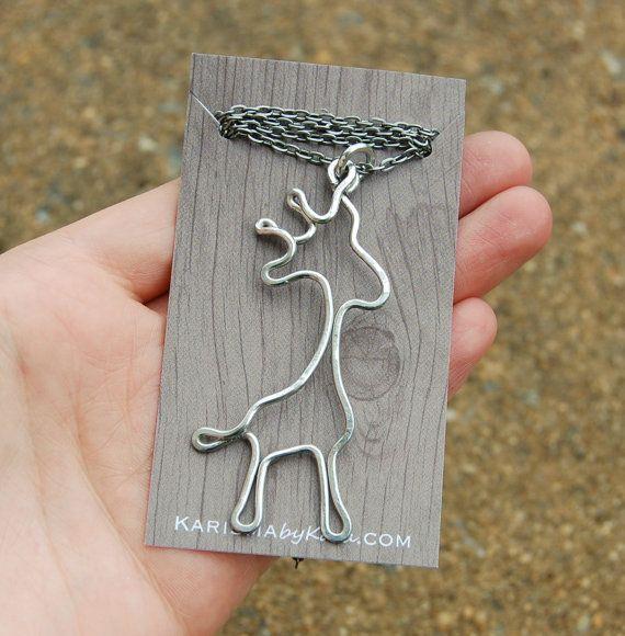 Giraffe Necklace. Giraffe Jewelry. Aluminum. Wire Jewelry via Etsy