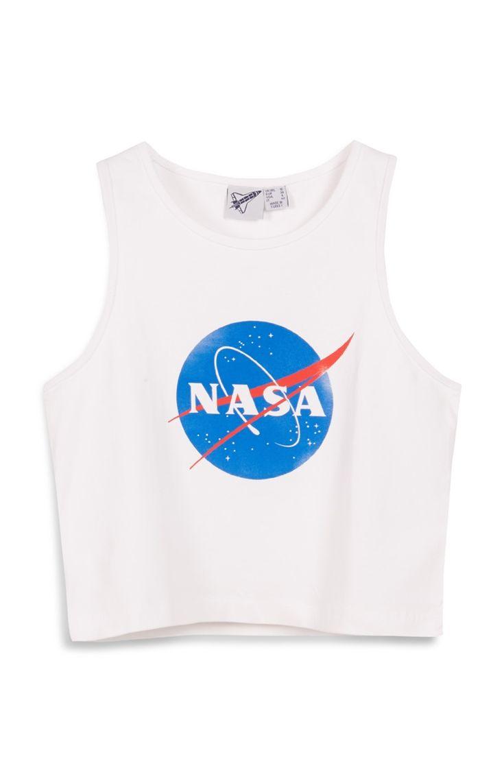 Witte korte top met NASA-print
