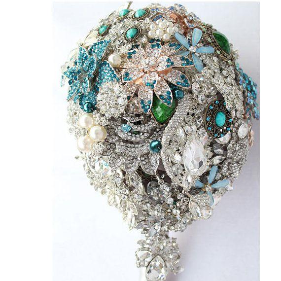 Tiffany Blue Wedding Style Bridal Flower by BridalBroochBouquet, $350.00