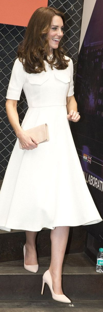 Who made  Kate Middleton's white short sleeve dress and tan clutch handbag?