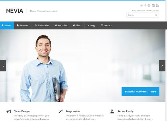 Nevia Business WordPress Theme  Nevia is a premium WordPress theme created for corporate and portfolio websites with support for WooCommerce. It features a very clean, responsive design that is perfect for creating professional image of your company.