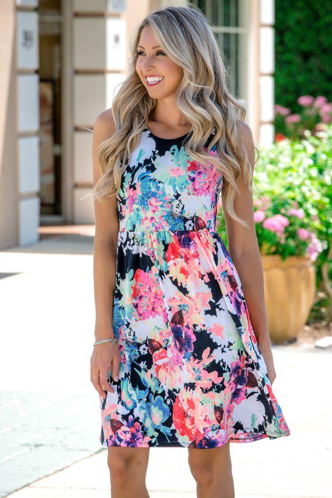 2ba26d2a2a Spring Forward Floral Racerback Pockets Dress Shop Simply Me Boutique SMB –  Simply Me Boutique