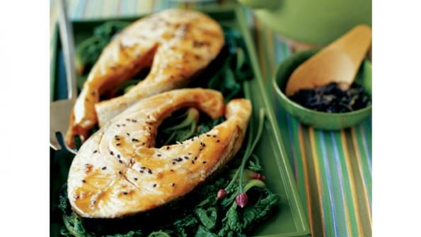flavors of green tea, ginger, and sesame oil, salmon takes on an Asian ...