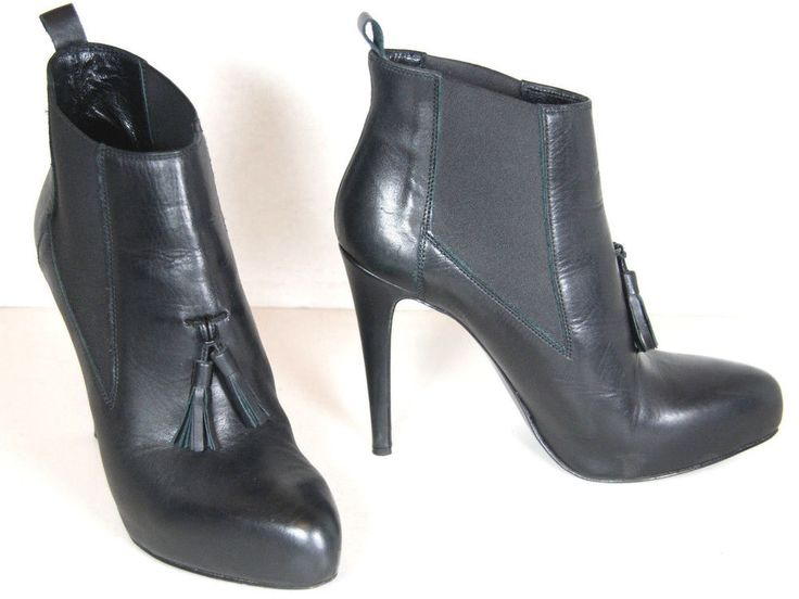 ALLSAINTS Black Leather Concealed Platform Chelsea Boot Heel Tassel EU 40 US 9.5 #AllSaints #FashionAnkle