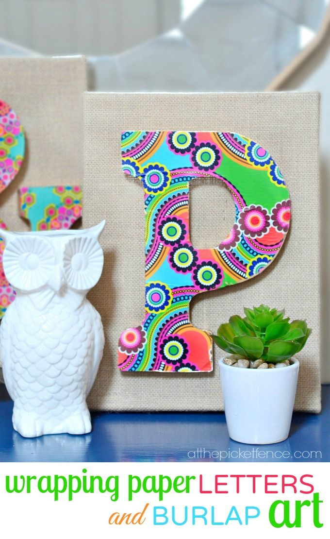 wrapping paper letters and burlap art @At The Picket Fence