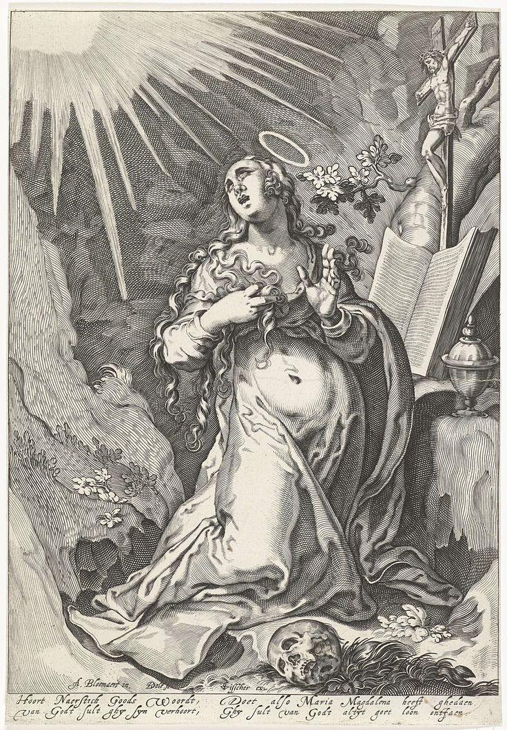 Bartholomeus Willemsz. Dolendo | De boetvaardige Maria Magdalena, Bartholomeus Willemsz. Dolendo, Claes Jansz. Visscher (II), c. 1595 - before c. 1600 | De heilige Maria Magdalena in haar grot. De heilige knielt in extase voor een altaar met een bijbel en een crucifix. Op en rots staat haar zalfpotje. Haar blik is omhoog gericht naar een lichtbron.