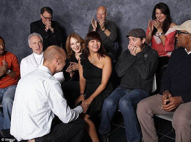 Long live and prosper: The Star Trek fan popped the question during a cast photo op at the Austin Wizard World Convention, and Wil Wheaton, who played Wesley Crusher (second right) on the Nineties space show, shared the surprise on Reddit