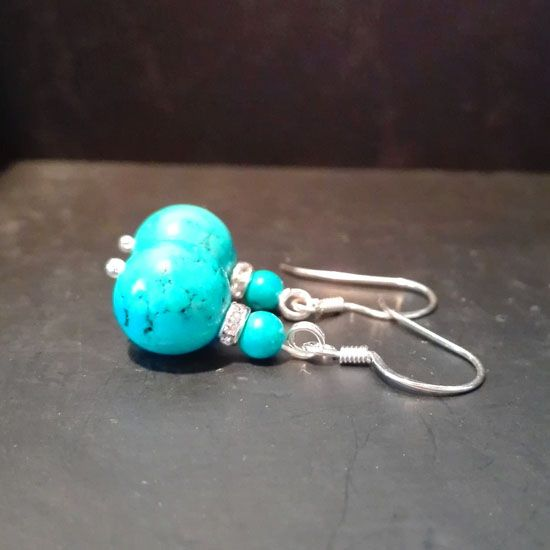 HANDMADE EARRINGS TURQUOISE SILVER with authentic Turquoise stones 12mm and 4mm and Silver 925 | HANDMADE JEWELRY | Crystal Pepper