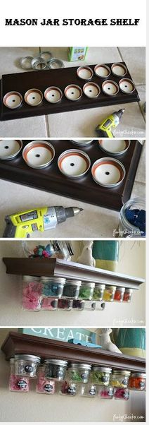 My granddaddy did this jar storage in his workshop the same way, he kept screws etc in them...what a great way to utilize his storage solution in my craft-room, just a little bit more pretty!