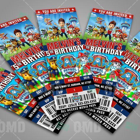 Cool Paw Patrol Ticket Style Cartoon Birthday Party Invites by #cartooninvites
