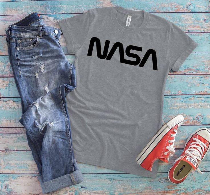 Black NASA Worm Logo Shirt Vintage Retro Tee 70s NASA
