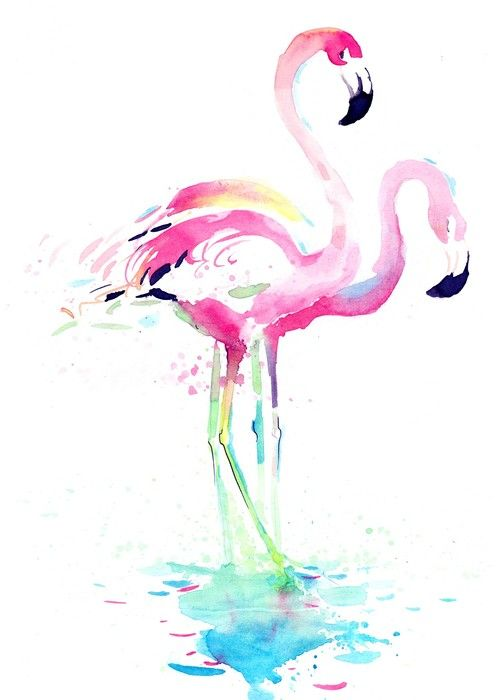 Perfect for a pastel pop 'Pink Flamingo Watercolour' print.  #WallArtPrints #CanvasPrint #Art #Flamingo #Watercolour