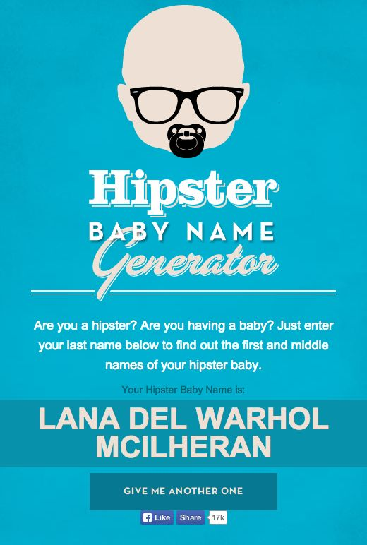 Mandatorys Hipster Baby Name Generator