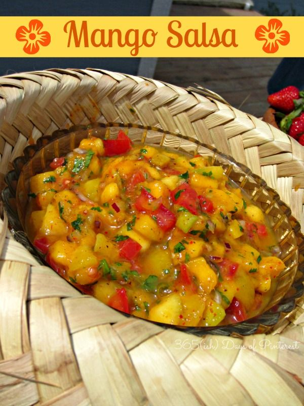 Fresh mango salsa made with fruits and veggies-I could eat this stuff with a spoon! It tastes even better after spending the night in the refrigerator. Awesome with chips or on fish tacos!