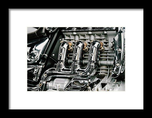 Motorcycle Chrome Engine Block Framed Print