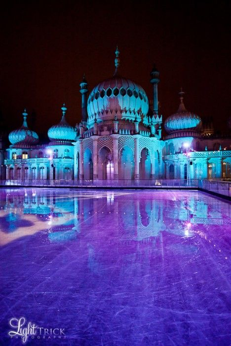 Go ice skating at the Royal Pavilion in Winter, Brighton, England,