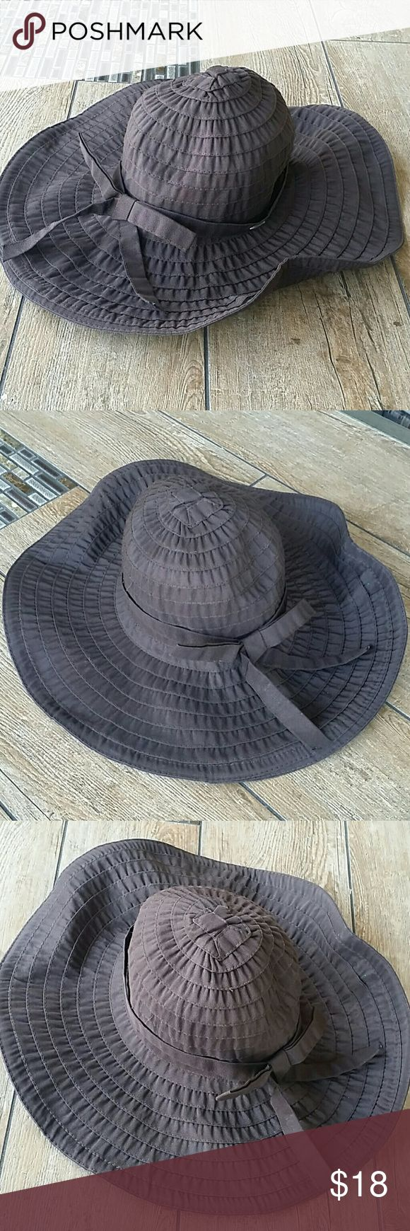 SCALA WIDE BRIM HAT Chocolate brown wide brim hat 50+ UPF NO rips or stains Smoke free home Scala Accessories Hats