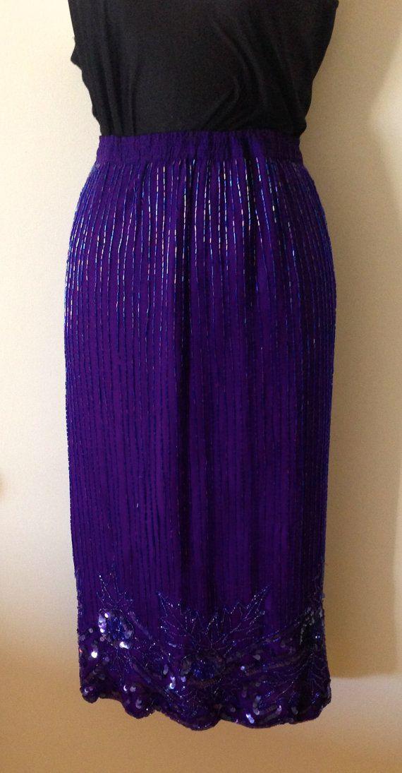 Lawrence Kazar Purple Beaded Skirt 1980s by ChanticleerandtheFox, $21.00