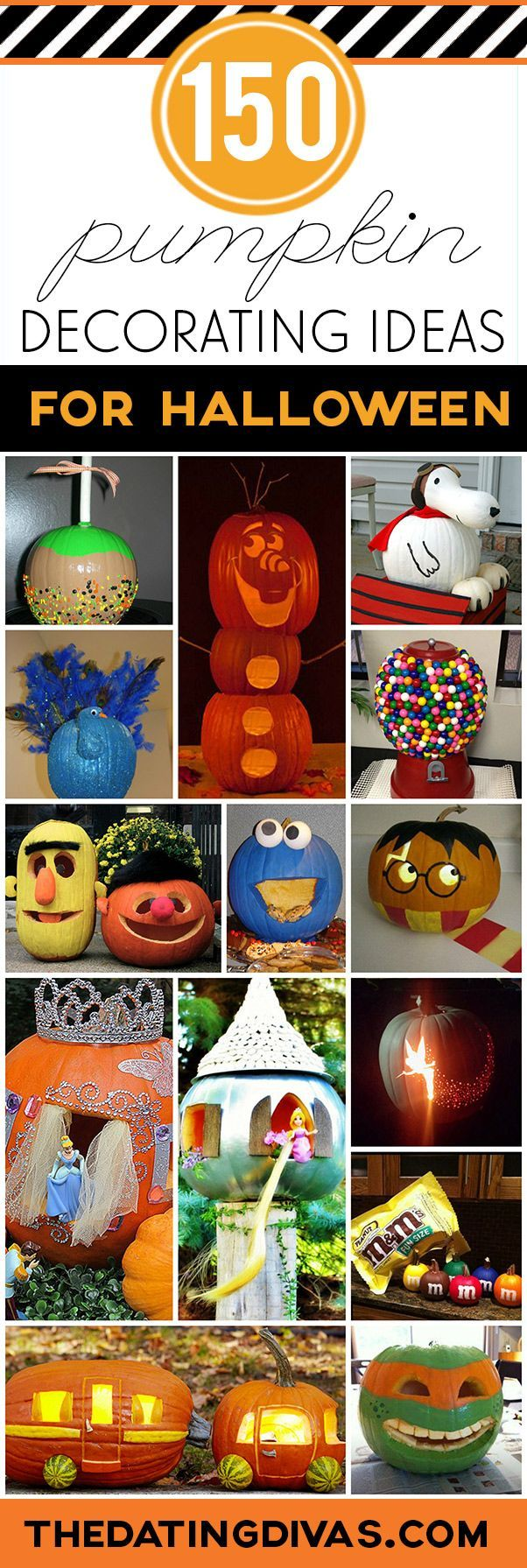A huge collection of the BEST creative pumpkins for Halloween! Including 60 creative pumpkin carving ideas AND 90 creative no-carve pumpkin ideas.